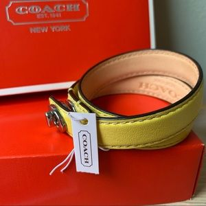 New in Box Coach Signature Double Wrap Yellow Leather Bracelet